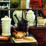 """Pharmacy - Mortar, Pestles and White Jars"" by susansartgallery"