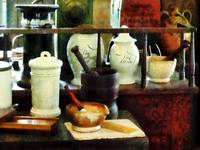 Pharmacy - Mortar, Pestles and White Jars