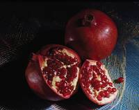 Pomegranate on blue