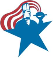 Chef Cook Baker Serving Hot Food Stars Stripes