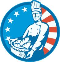 American Chef Baker Cook With Basket Loaf Bread