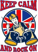Keep Calm Rock On British Flag Queen Granny Drums