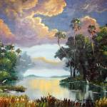"""Florida Wilderness Clouds and Egrets"" by mazz"