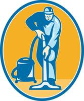 Cleaner Janitor Worker Vacuum Cleaning