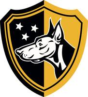 Doberman Guard Dog Stars Shield