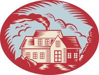 House Homestead Cottage Woodcut