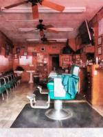 Barber Shop With Green Barber Chairs