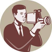 Photographer Shooting Video Camera Retro