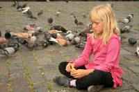 Feeding Pigeons in Quito