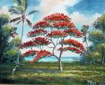 Royal Poinciana and Palm Tree by Mazz Original Paintings