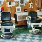 """Barber - Corner Barber Shop Two Chairs"" by susansartgallery"