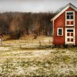 """Red Farmhouse and Barn in Snowy Field Photographic"" by cattanphoto"