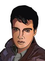 cartoon avatar portrait of Elvis Presley