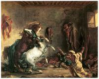 Arabian Horses Fighting in a Stable (1860)