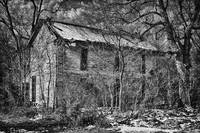 Scary Old House in Black and White