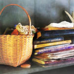 """Americana - Books, Basket and Quills"" by susansartgallery"