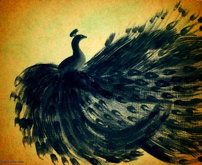Vintage Black Peacock By Anita Lewis
