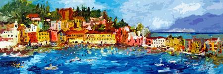 Abstract Panoramic Italian Seascape Sestri Levante