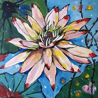 Pink Water Lily Flower Painting Lilies Waterlily