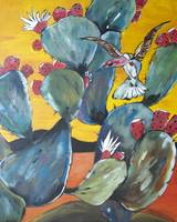 Prickly Pear Cactus Painting Hummingbird