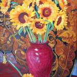 """Sunflowers in a Red Vase"" by RDRiccoboni"