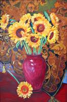 Sunflowers in a Red Vase