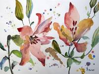 Pink Lily Stargazer Lilies Watercolor Painting