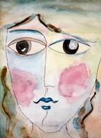 Girl Portrait Watercolor Painting Rosy Cheeks