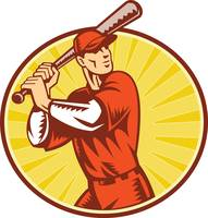 Baseball Player With Bat Batting Retro Style