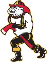 bulldog dog fireman with axe walking cartoon