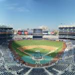 """Yankee Stadium Panorama Grandstand 420B Front Row"" by augiespanoramas"