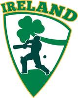 cricket batsman batting shamrock Ireland