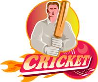 cricket player batsman with ball and bat front vie