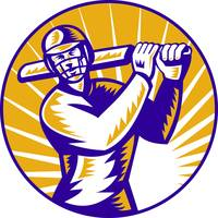 cricket sports batsman batting retro
