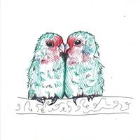 Lover Birds Kissing