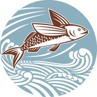flying fish with waves retro style