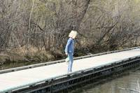 Young Blond Girl Watching from a dock