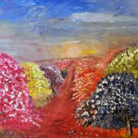 Abstract Trees in Bloom by Lisa Rich