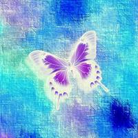 Glowing Violet White Butterfly on Blue Indigo Abst