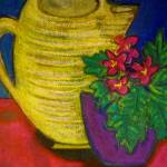 """Yellow Pitcher with Flowers"" by SimplyColor"