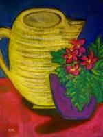 Yellow Pitcher with Flowers