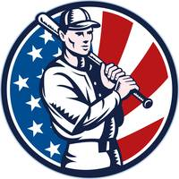 Baseball player holding bat american flag