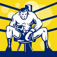 Boxer sitting on stool front view