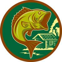 largemouth bass fish jumping log cabin