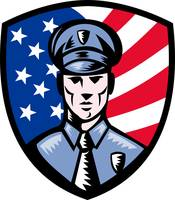 Policeman Police Officer American flag shield