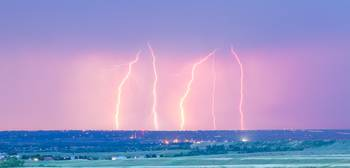 Summer Thunderstorm Lightning Strikes Panorama