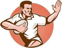 rugby player running with ball fending off