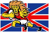 Cartoon British Lion rugby fending off GB flagflag