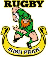 Irish leprechaun rugby player running with ball