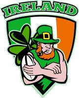 Irish leprechaun rugby player shield Ireland